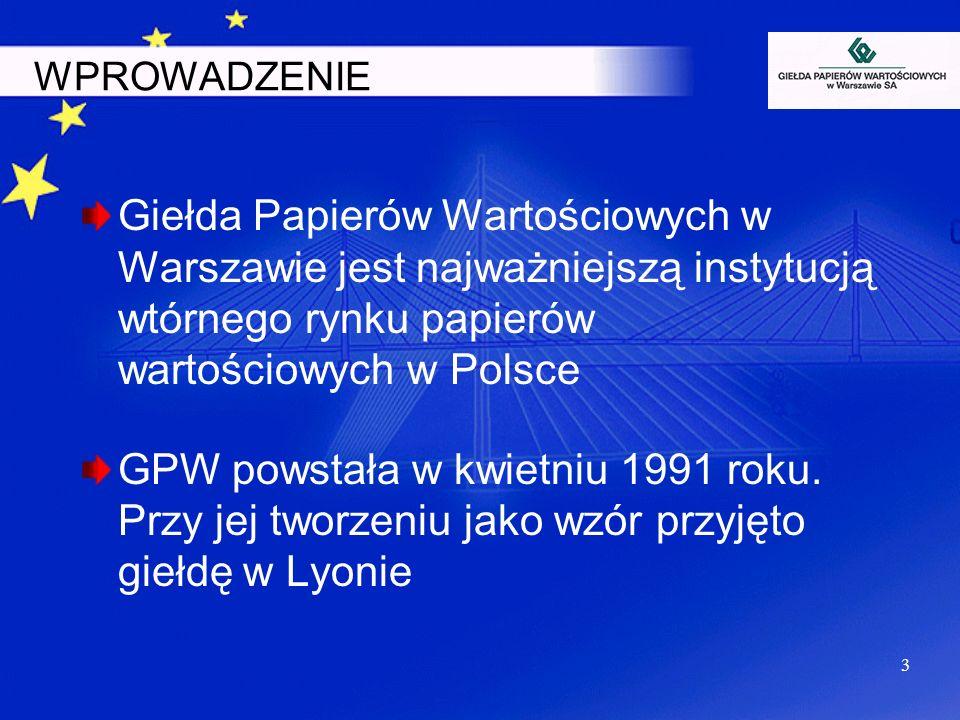 WPROWADZENIEGiełda Papierów Wartościowych w Warszawie jest najważniejszą instytucją wtórnego rynku papierów wartościowych w Polsce.