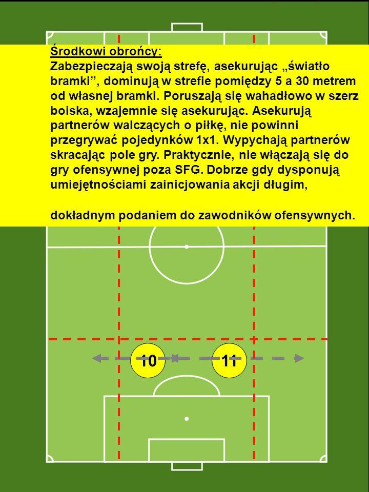 """Środkowi obrońcy: Zabezpieczają swoją strefę, asekurując """"światło bramki , dominują w strefie pomiędzy 5 a 30 metrem od własnej bramki. Poruszają się wahadłowo w szerz boiska, wzajemnie się asekurując. Asekurują partnerów walczących o piłkę, nie powinni przegrywać pojedynków 1x1. Wypychają partnerów skracając pole gry. Praktycznie, nie włączają się do gry ofensywnej poza SFG. Dobrze gdy dysponują umiejętnościami zainicjowania akcji długim, dokładnym podaniem do zawodników ofensywnych."""