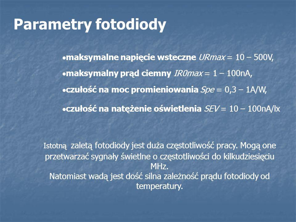 Parametry fotodiody maksymalne napięcie wsteczne URmax = 10 – 500V,