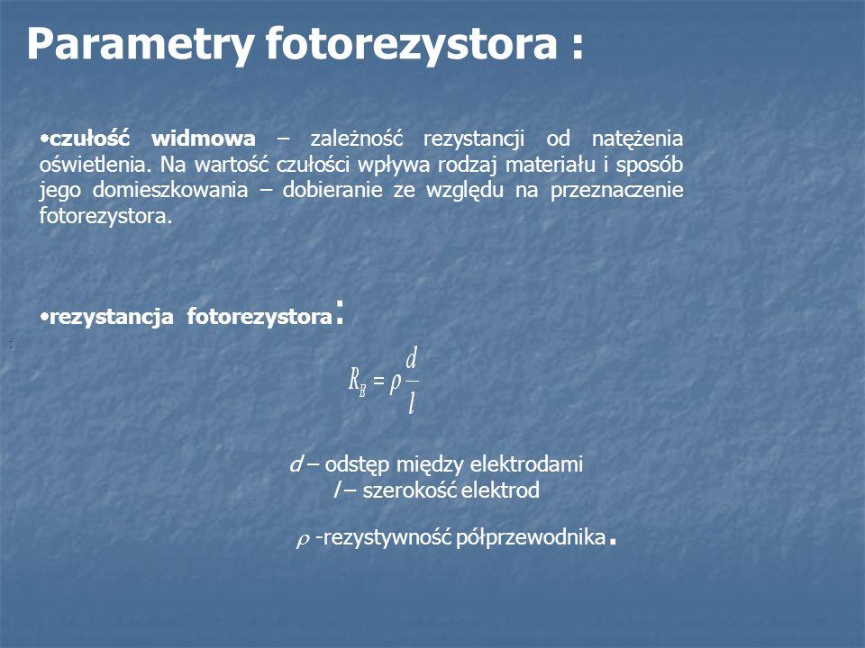 Parametry fotorezystora :