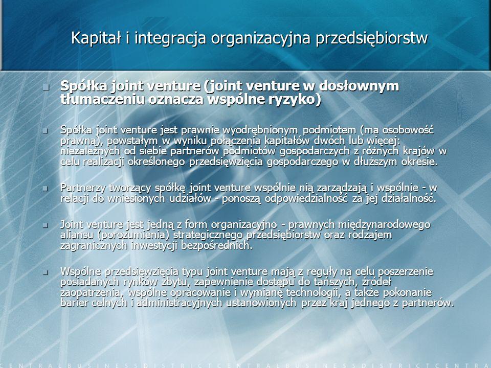 Kapitał i integracja organizacyjna przedsiębiorstw