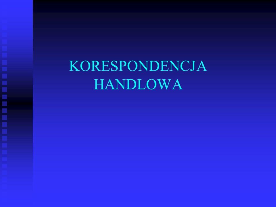 KORESPONDENCJA HANDLOWA
