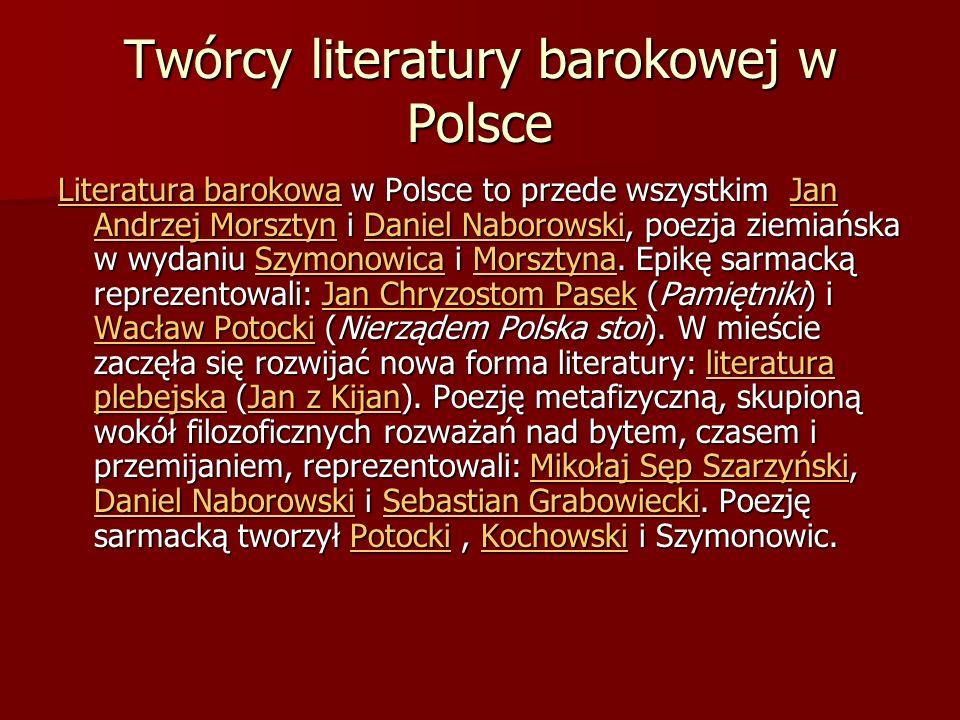 Twórcy literatury barokowej w Polsce