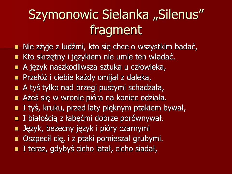 "Szymonowic Sielanka ""Silenus fragment"