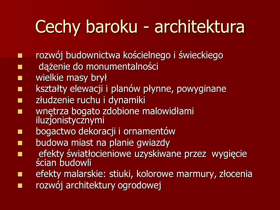 Cechy baroku - architektura