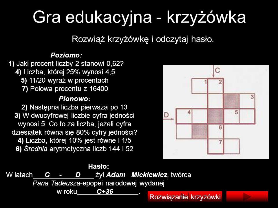 Gra edukacyjna - krzyżówka