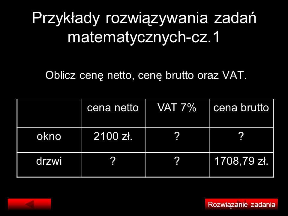 Przykłady rozwiązywania zadań matematycznych-cz.1