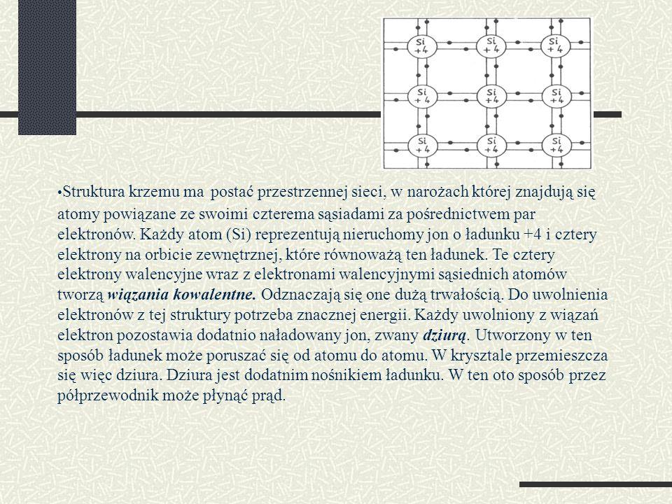 Struktura krzemu ma postać przestrzennej sieci, w narożach której znajdują się atomy powiązane ze swoimi czterema sąsiadami za pośrednictwem par elektronów.