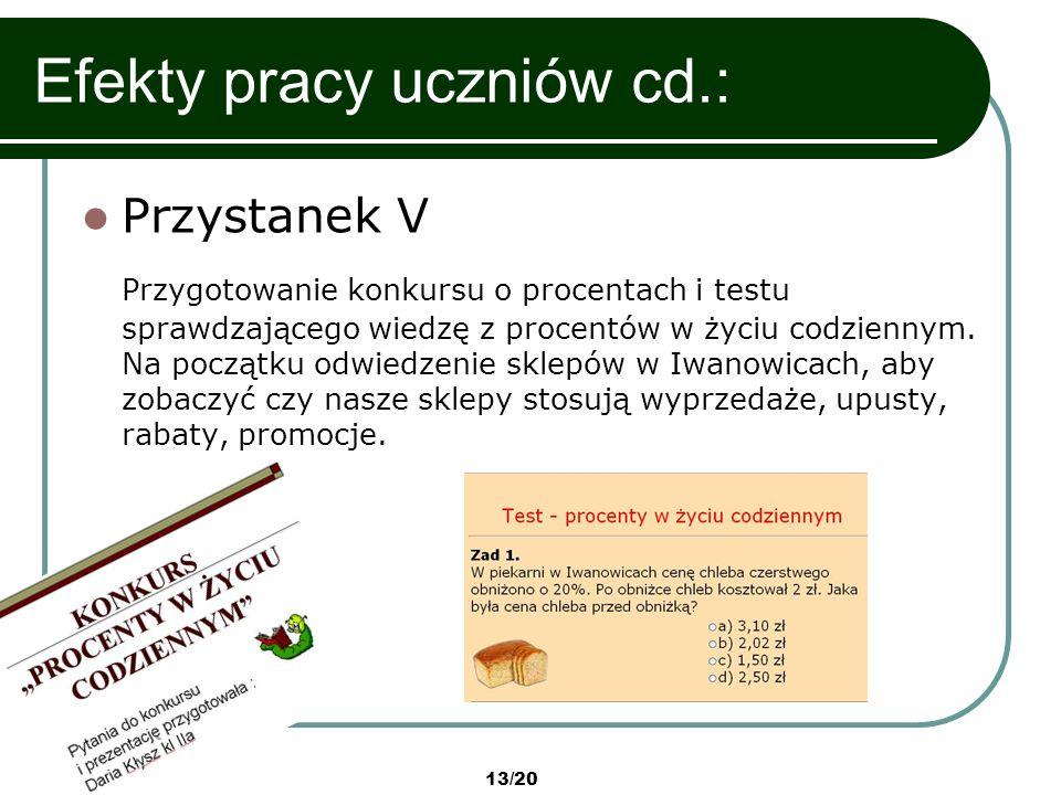 Efekty pracy uczniów cd.: