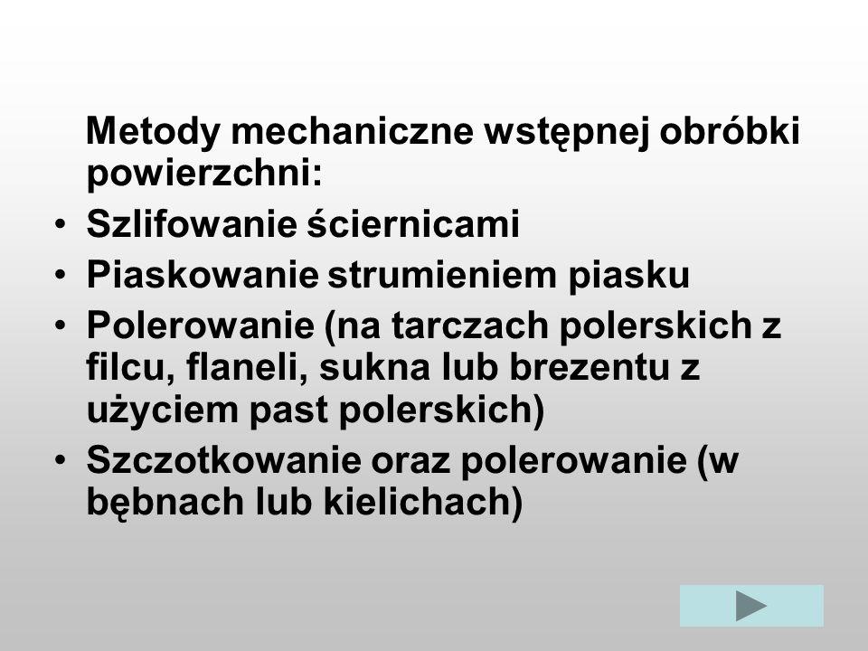 Metody mechaniczne wstępnej obróbki powierzchni: