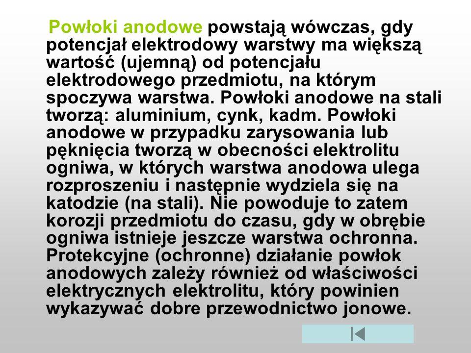 Powłoki anodowe powstają wówczas, gdy potencjał elektrodowy warstwy ma większą wartość (ujemną) od potencjału elektrodowego przedmiotu, na którym spoczywa warstwa.