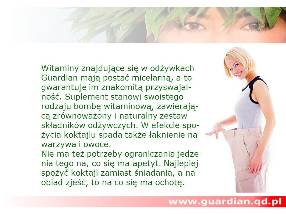 Witaminy znajdujące się w odżywkach Guardian mają postać micelarną, a to gwarantuje im znakomitą przyswajal-ność.