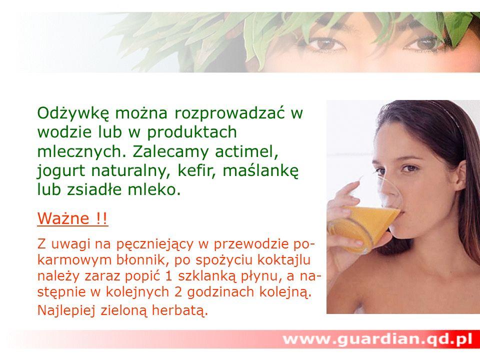 Odżywkę można rozprowadzać w wodzie lub w produktach mlecznych