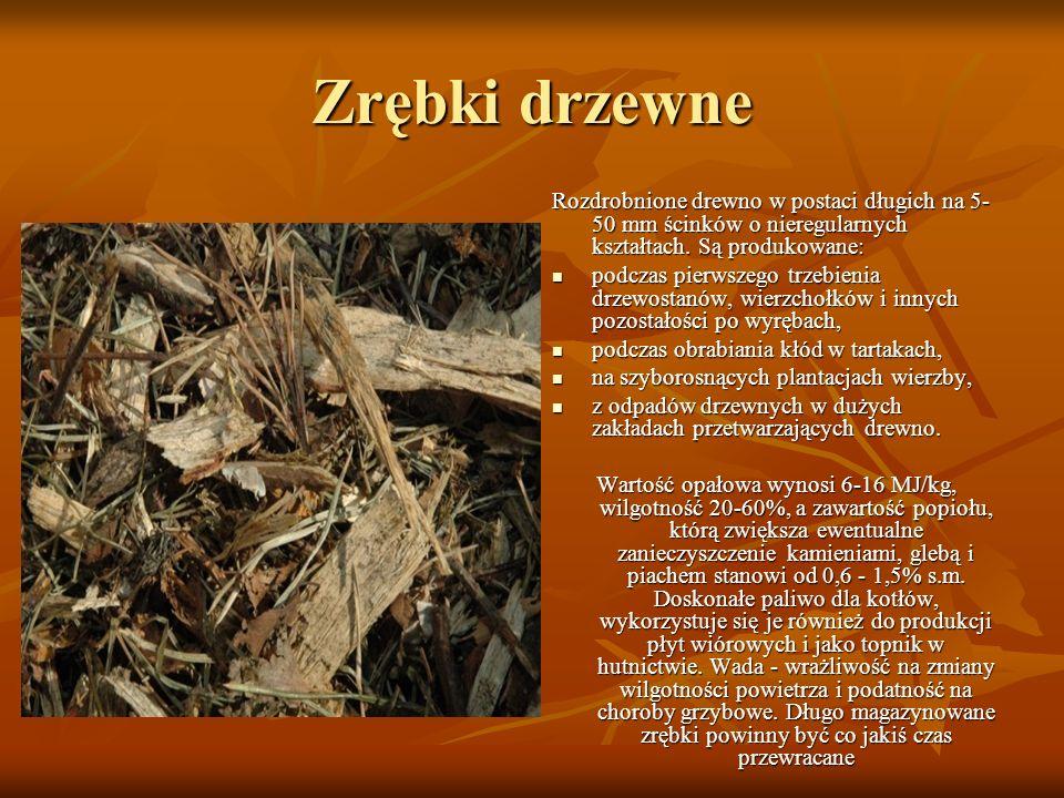 Zrębki drzewne Rozdrobnione drewno w postaci długich na 5-50 mm ścinków o nieregularnych kształtach. Są produkowane: