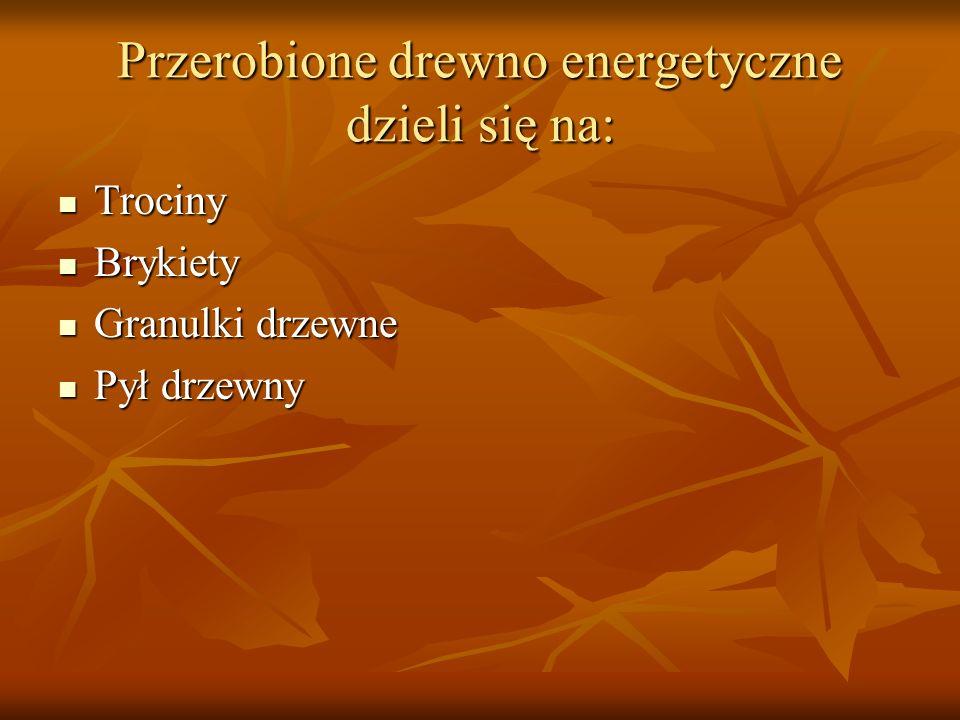 Przerobione drewno energetyczne dzieli się na: