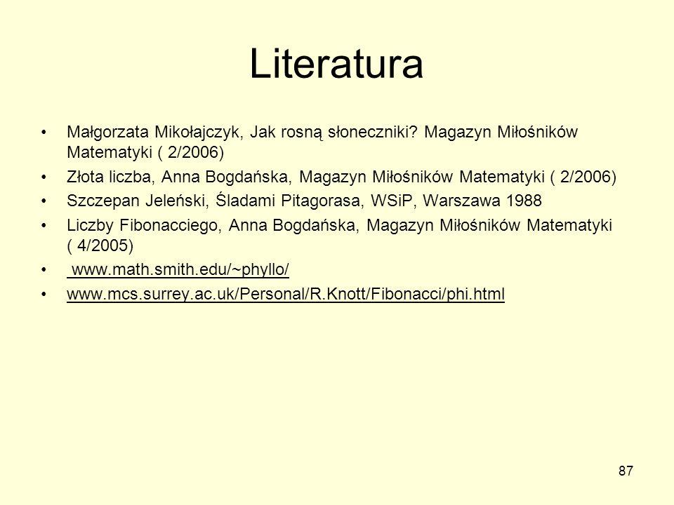 Literatura Małgorzata Mikołajczyk, Jak rosną słoneczniki Magazyn Miłośników Matematyki ( 2/2006)