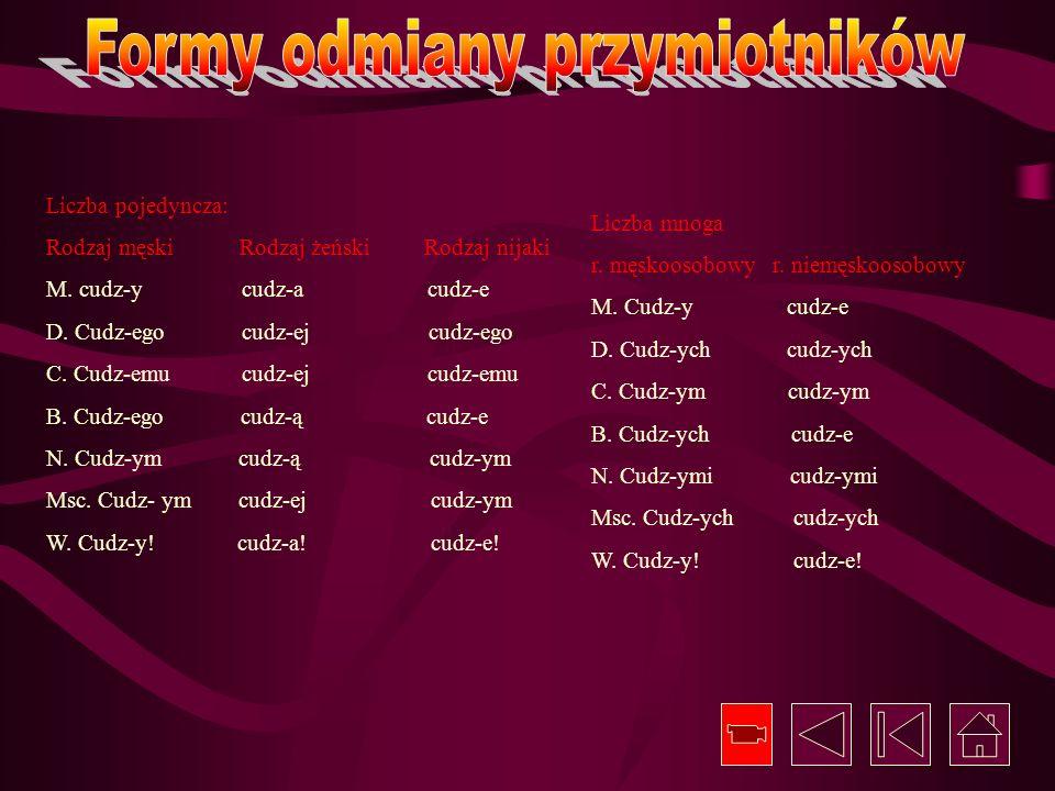 Formy odmiany przymiotników
