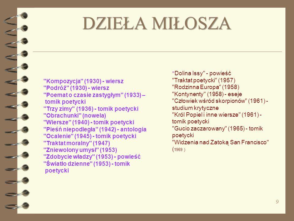 DZIEŁA MIŁOSZA Kompozycja (1930) - wiersz Podróż (1930) - wiersz Poemat o czasie zastygłym (1933) –