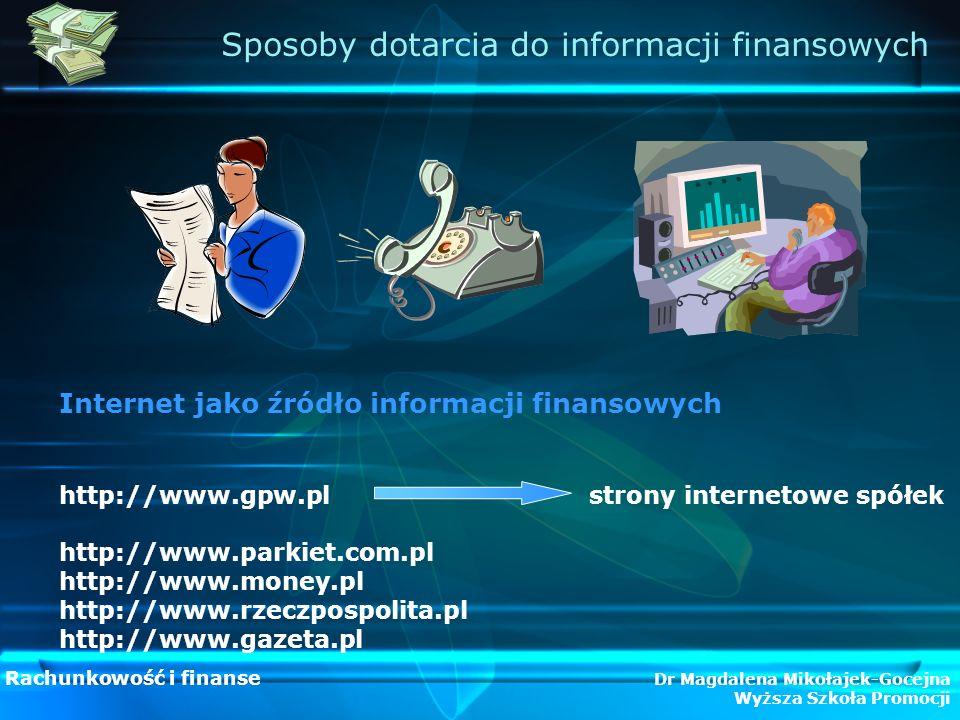 Sposoby dotarcia do informacji finansowych