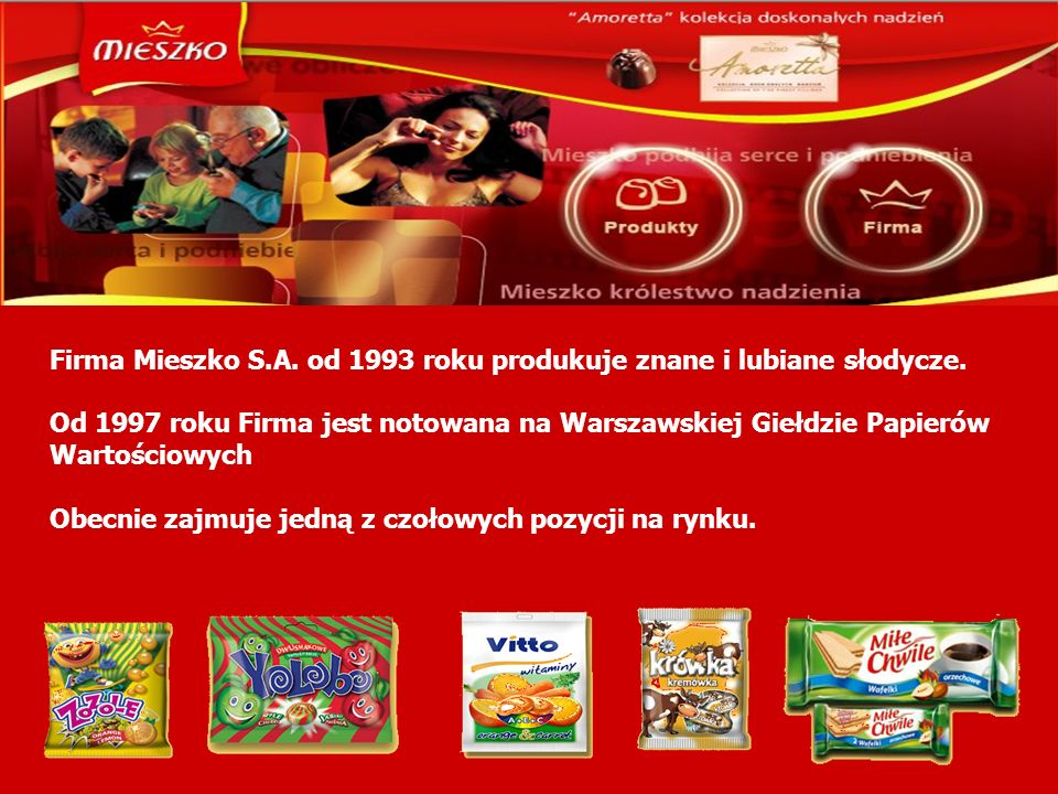 Firma Mieszko S.A. od 1993 roku produkuje znane i lubiane słodycze.