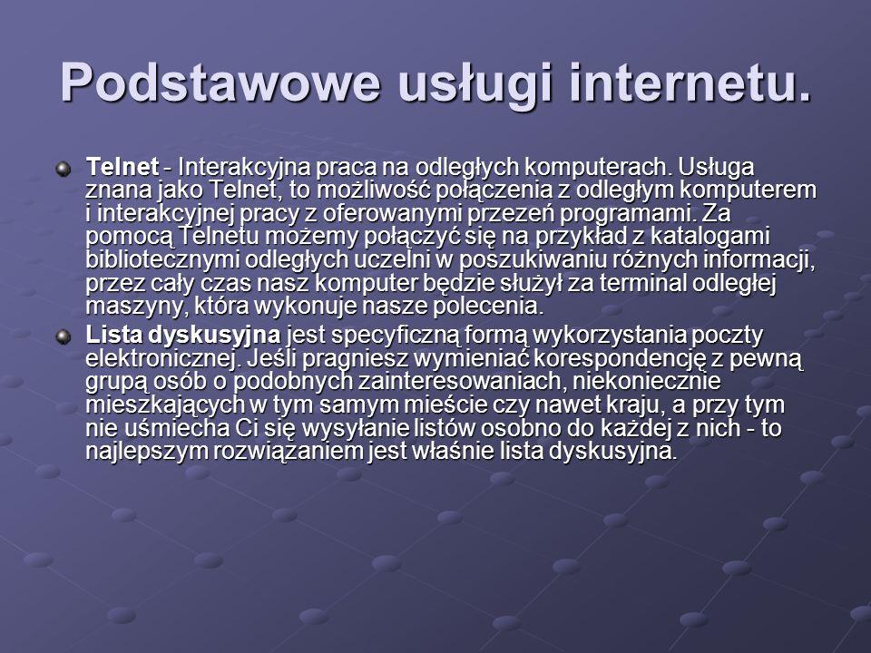 Podstawowe usługi internetu.
