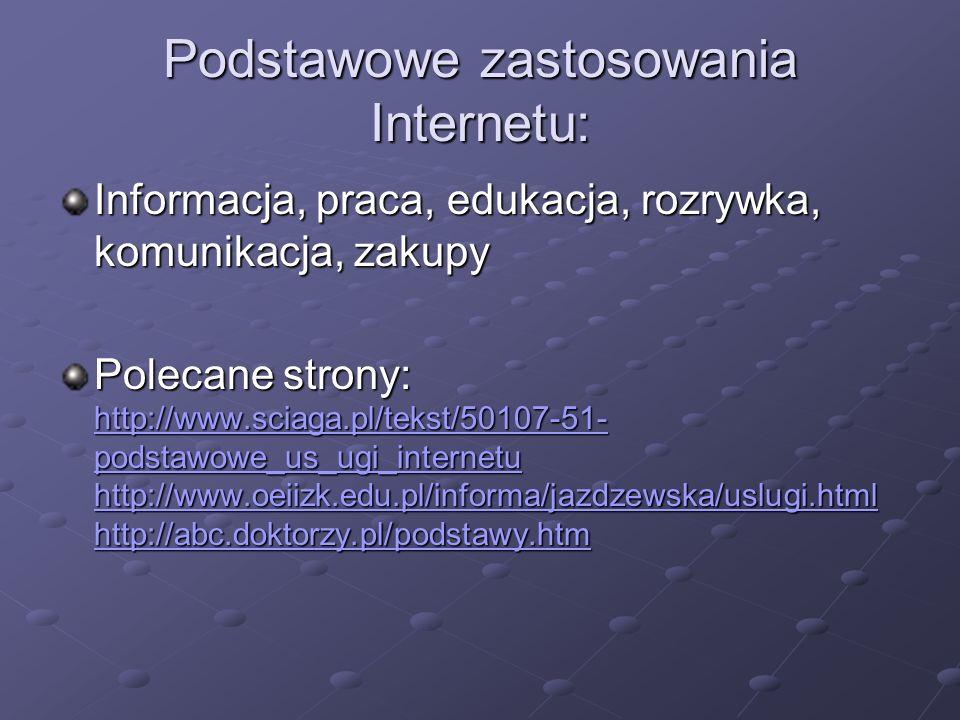 Podstawowe zastosowania Internetu: