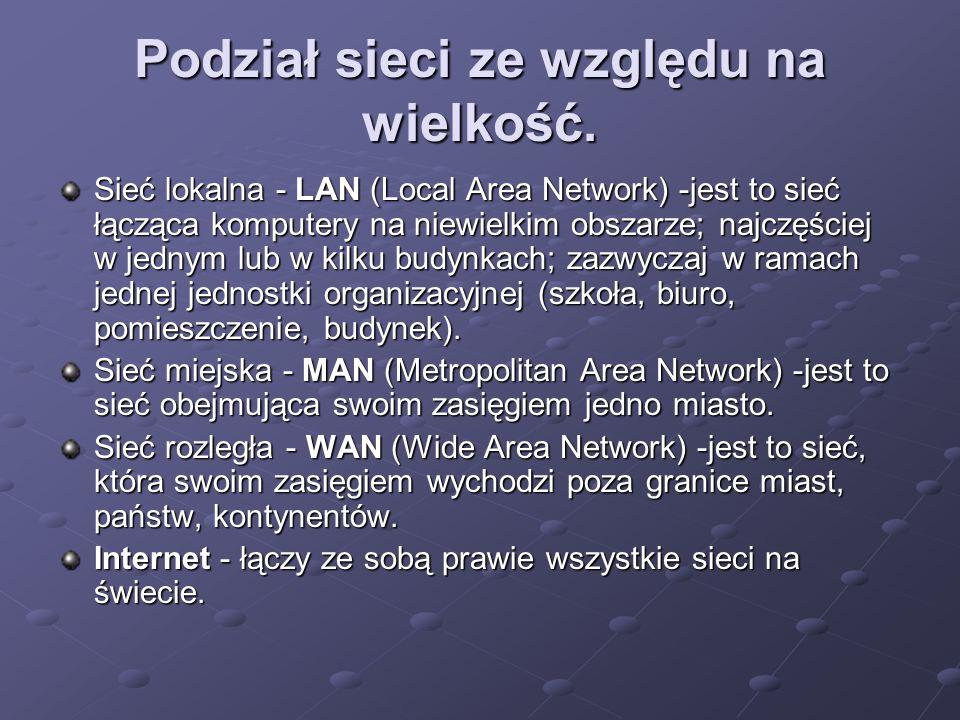 Podział sieci ze względu na wielkość.