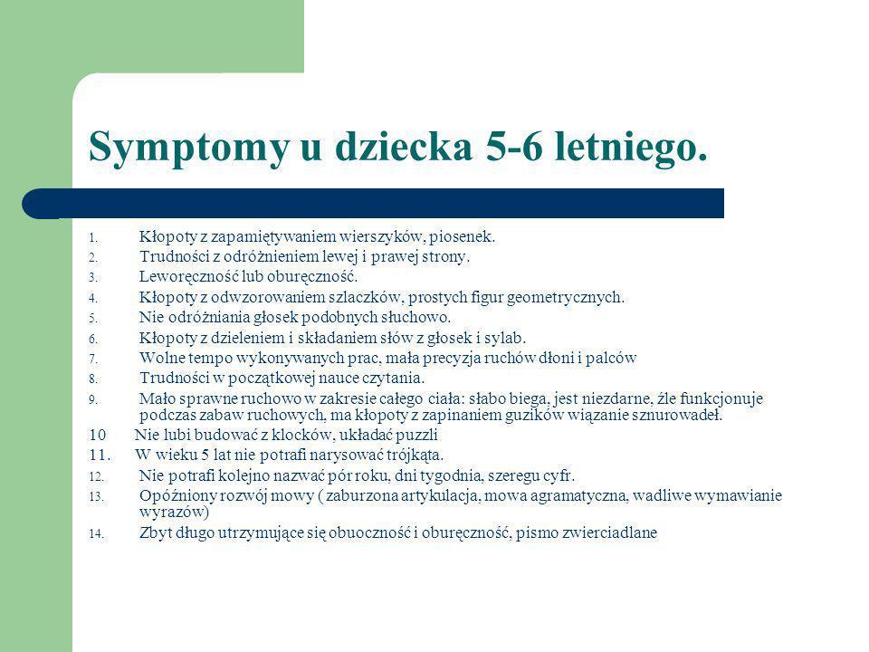 Symptomy u dziecka 5-6 letniego.