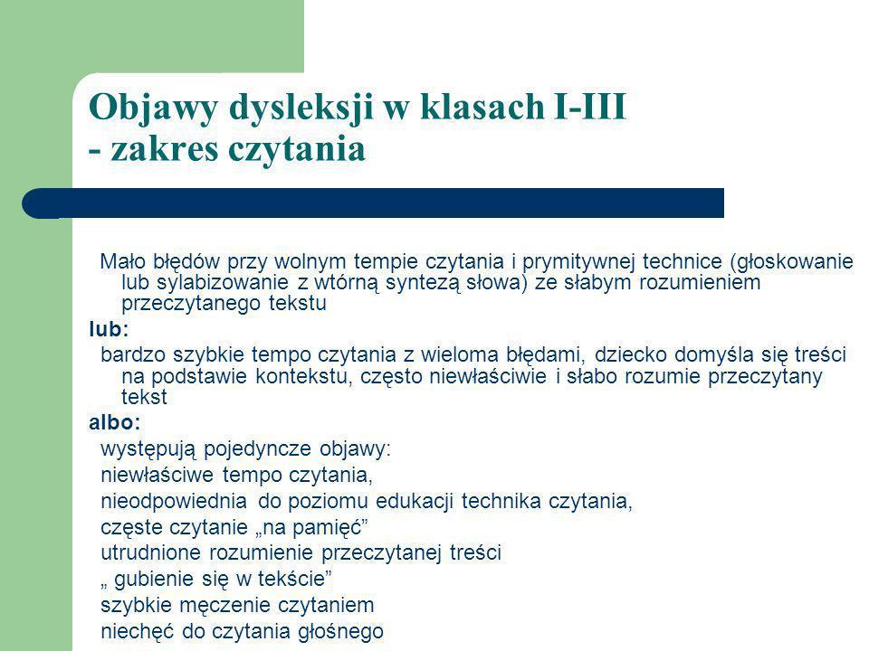 Objawy dysleksji w klasach I-III - zakres czytania