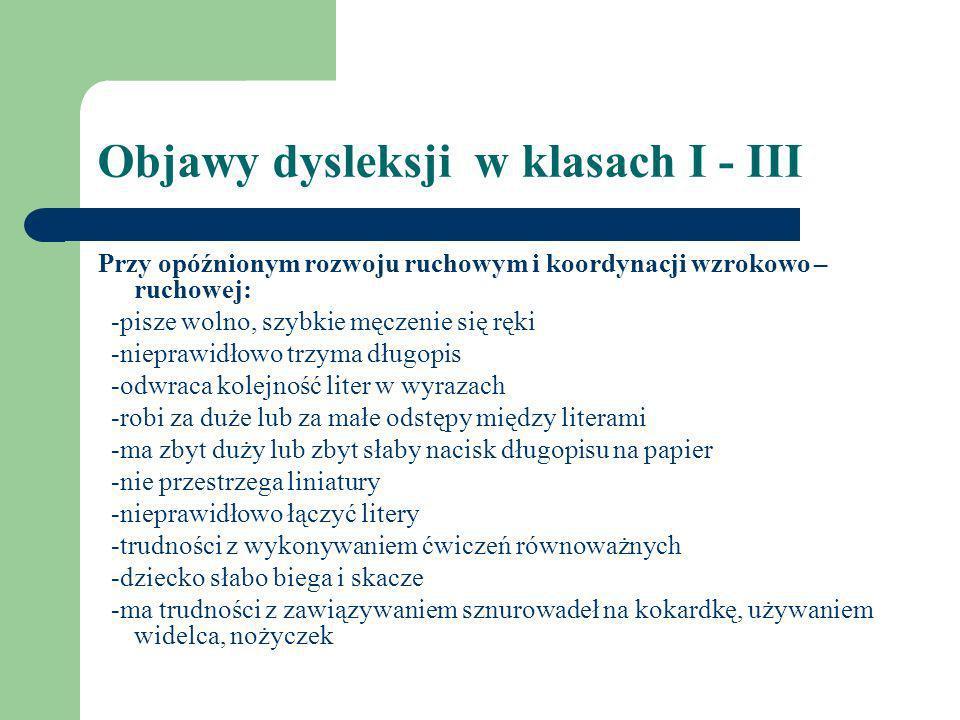 Objawy dysleksji w klasach I - III