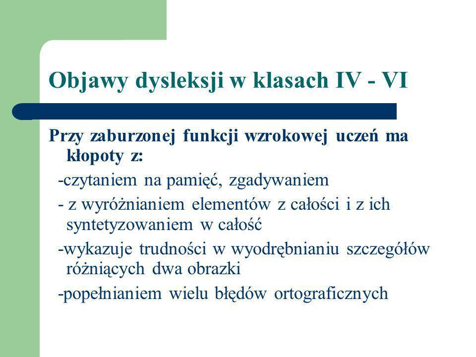 Objawy dysleksji w klasach IV - VI
