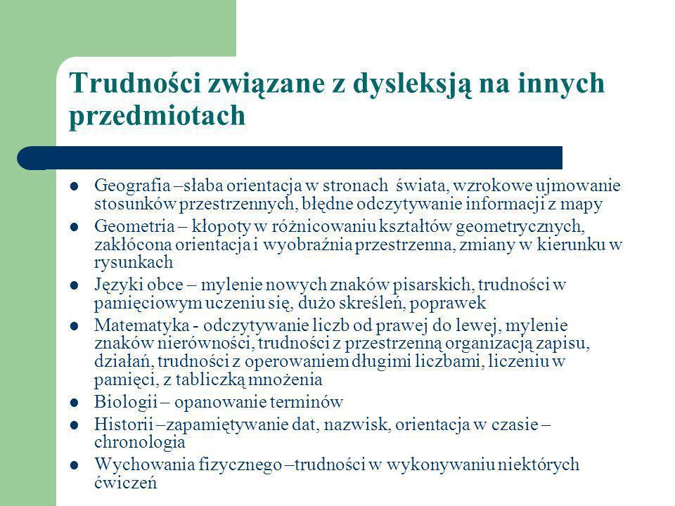 Trudności związane z dysleksją na innych przedmiotach