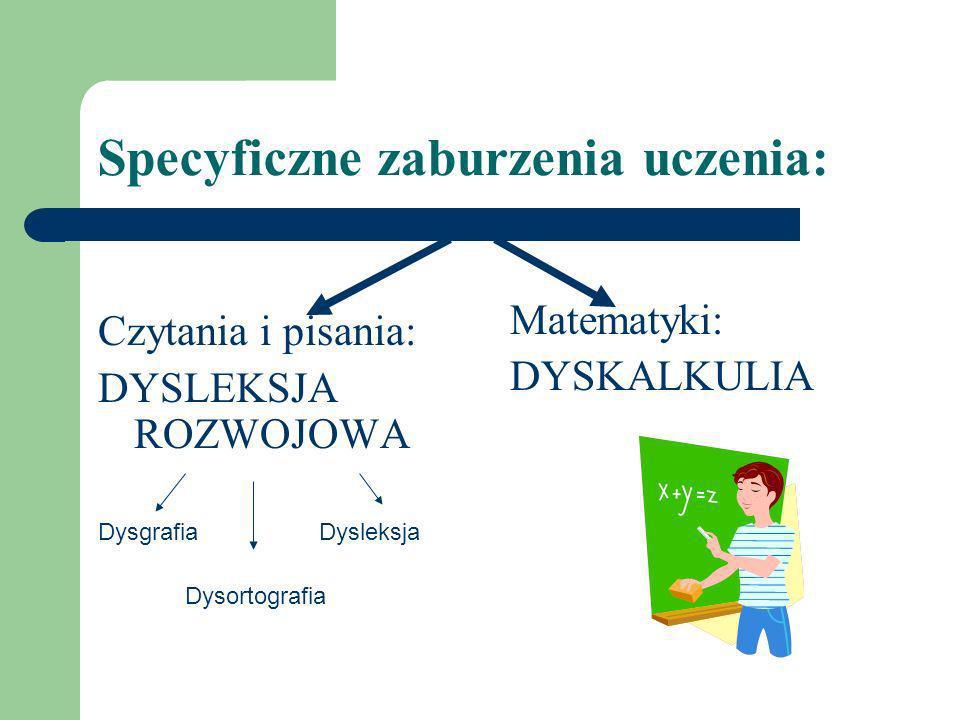Specyficzne zaburzenia uczenia: