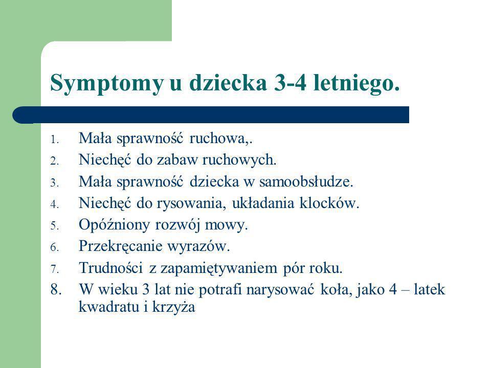 Symptomy u dziecka 3-4 letniego.