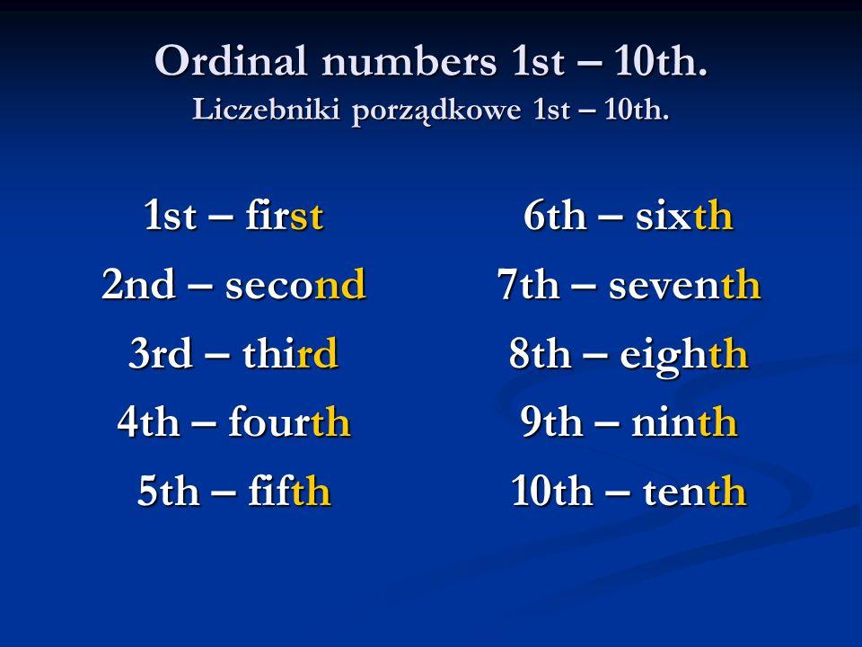 Ordinal numbers 1st – 10th. Liczebniki porządkowe 1st – 10th.