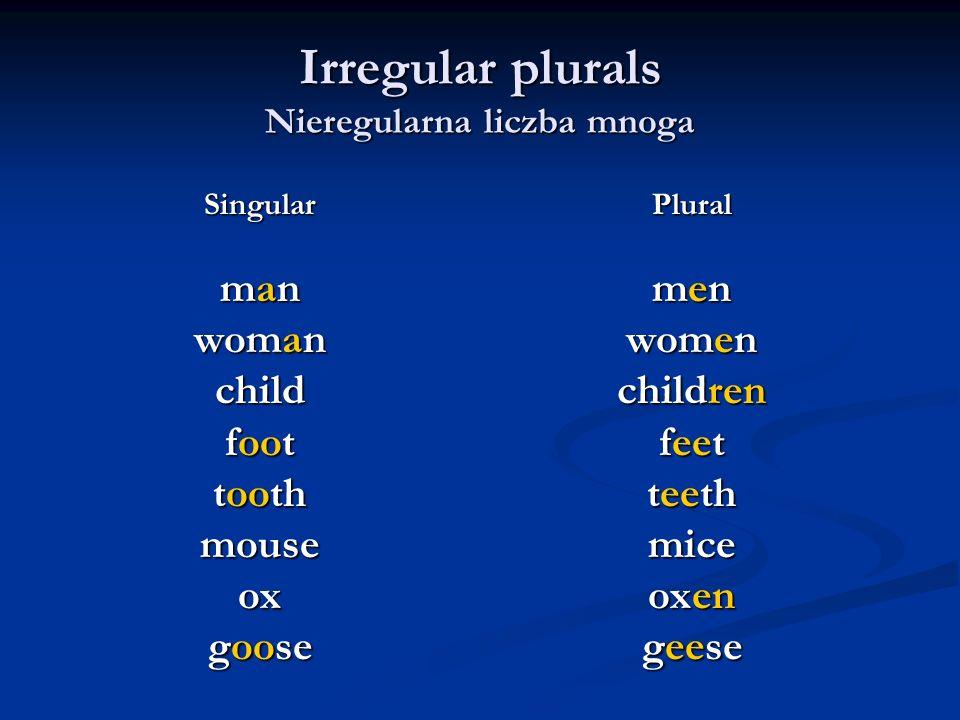 Irregular plurals Nieregularna liczba mnoga