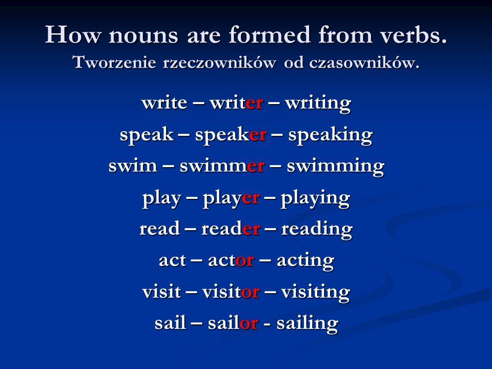 How nouns are formed from verbs. Tworzenie rzeczowników od czasowników.