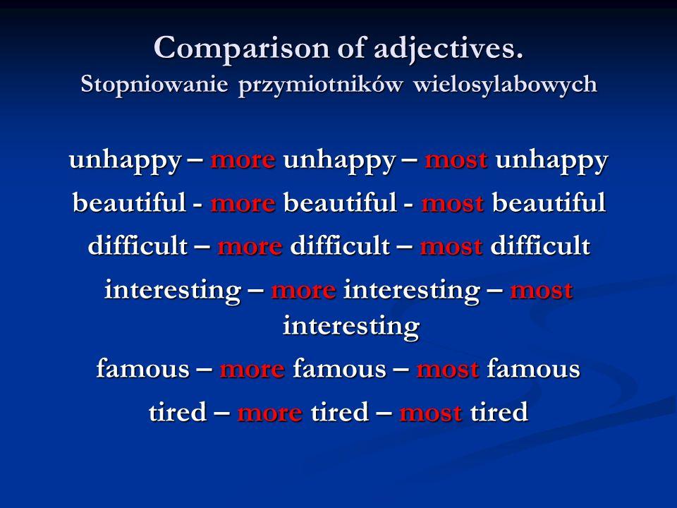 Comparison of adjectives. Stopniowanie przymiotników wielosylabowych