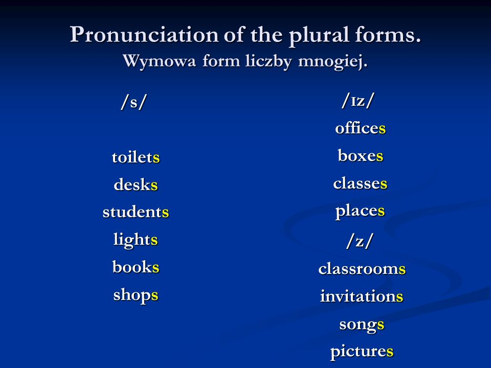 Pronunciation of the plural forms. Wymowa form liczby mnogiej.