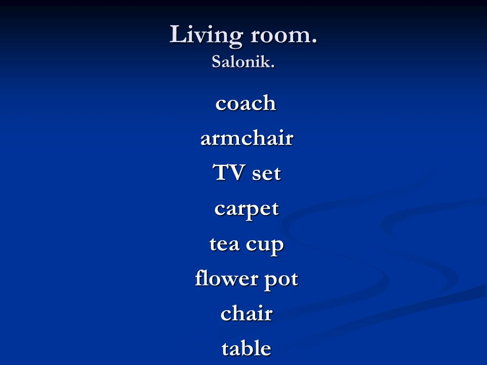 Living room. Salonik. armchair TV set carpet tea cup flower pot chair