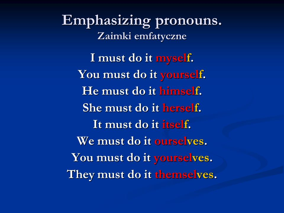 Emphasizing pronouns. Zaimki emfatyczne