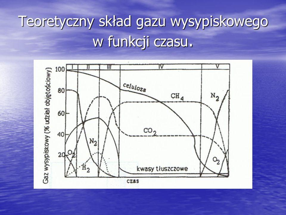 Teoretyczny skład gazu wysypiskowego w funkcji czasu.
