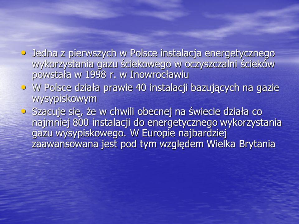 Jedna z pierwszych w Polsce instalacja energetycznego wykorzystania gazu ściekowego w oczyszczalni ścieków powstała w 1998 r. w Inowrocławiu