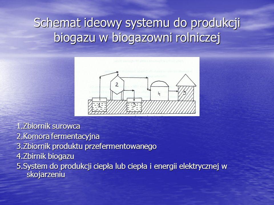 Schemat ideowy systemu do produkcji biogazu w biogazowni rolniczej