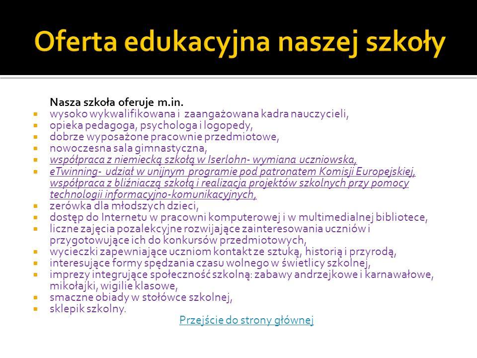 Oferta edukacyjna naszej szkoły