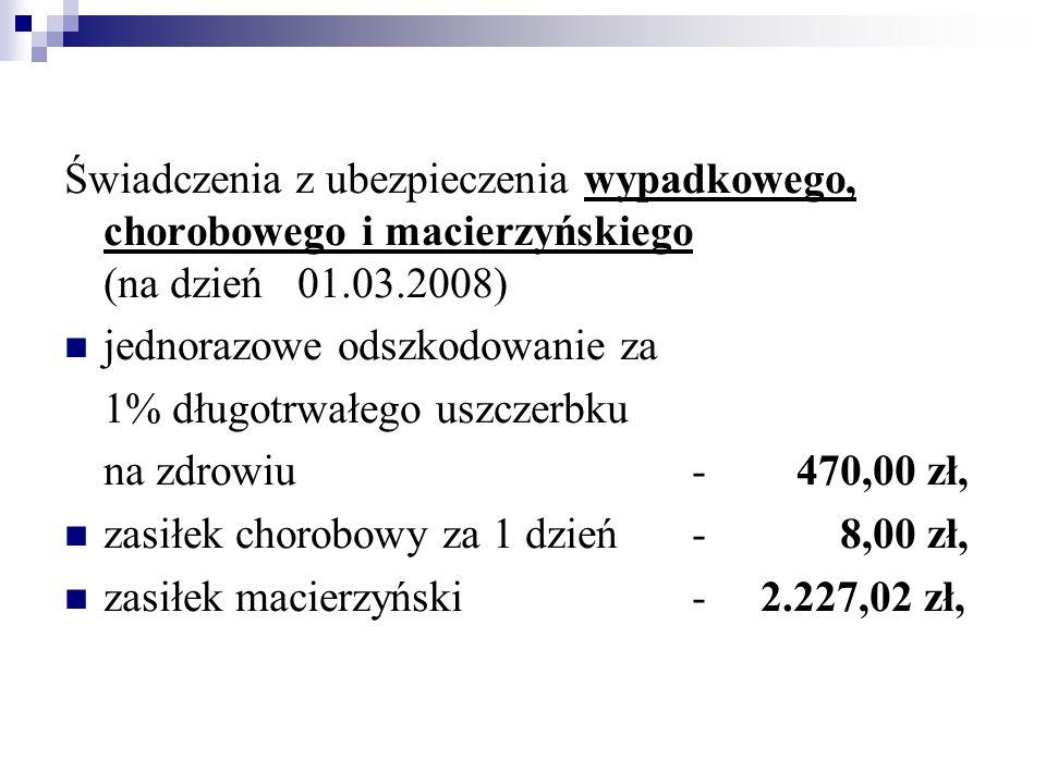 Świadczenia z ubezpieczenia wypadkowego, chorobowego i macierzyńskiego (na dzień 01.03.2008)