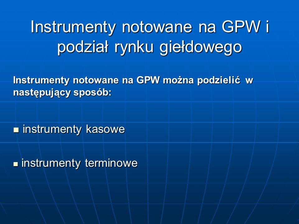Instrumenty notowane na GPW i podział rynku giełdowego