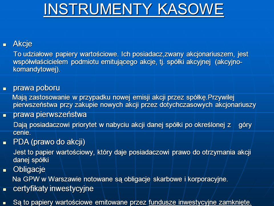 INSTRUMENTY KASOWE Akcje