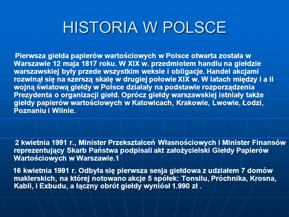 HISTORIA W POLSCE