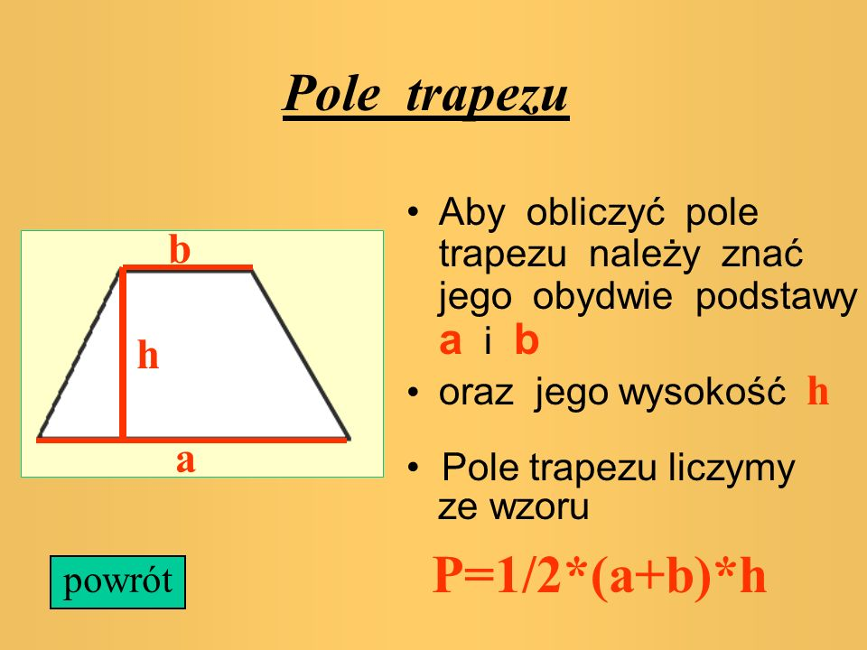 Pole trapezu P=1/2*(a+b)*h